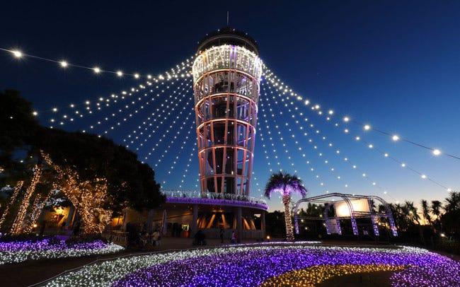 江の島シーキャンドルが幻想的に光り輝く
