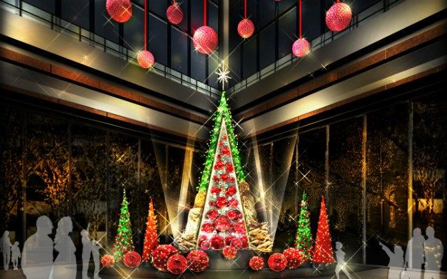 丸の内に花のクリスマスツリーが登場