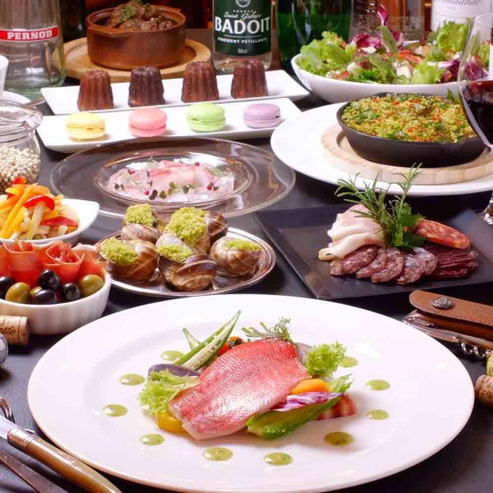 【カジュアルコース★乾杯シャンパン付き】2種のオードブルや国産牛ホホ肉などから選べるメイン・デザートなど5皿
