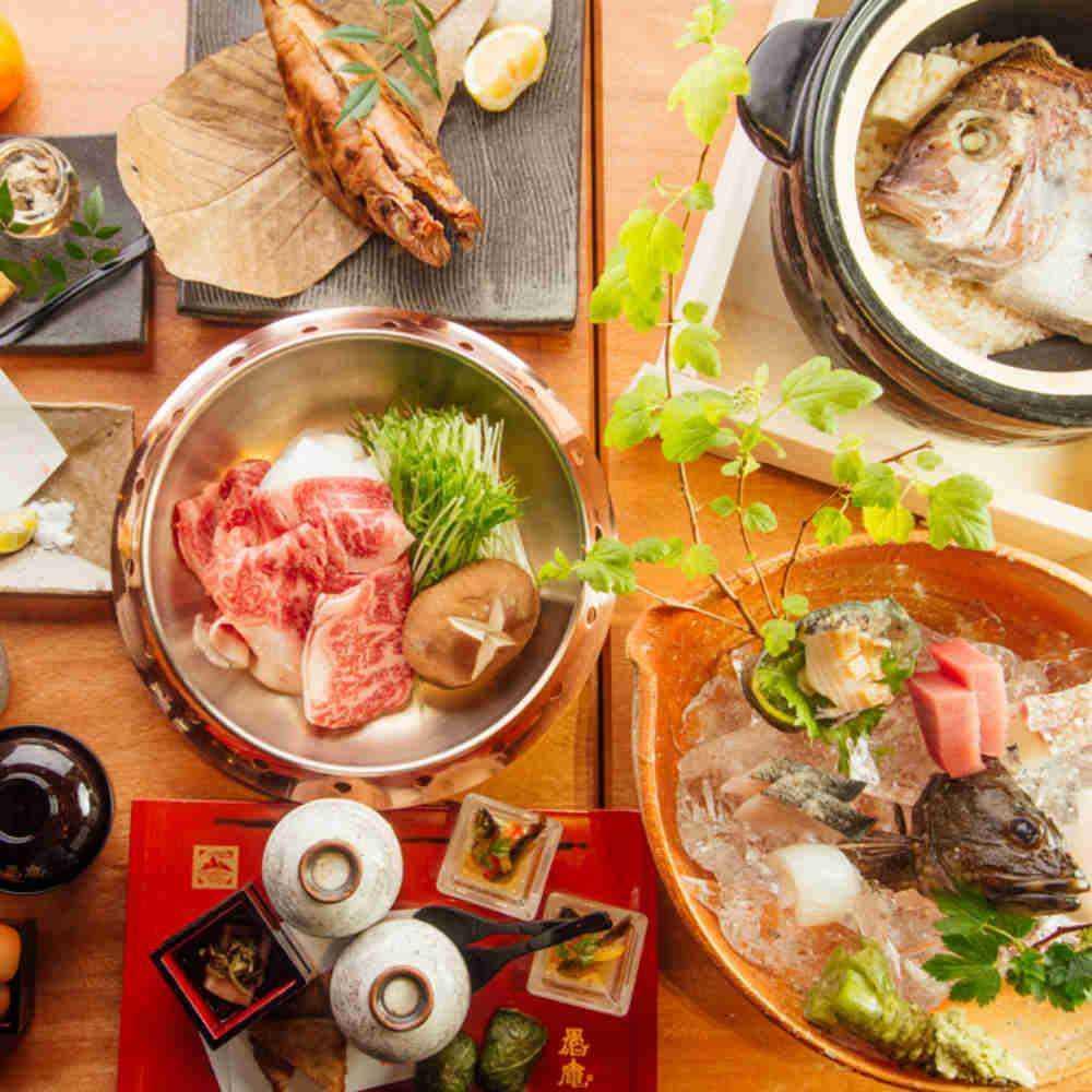 【鍋コース★熊野牛南高梅すき焼き】高級魚や紀州梅くえから揚げ、梅真鯛めしなど和歌山を味わい尽くす全7皿