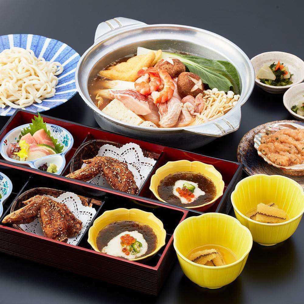 【OZ限定★デザート付き】鶏ガラ豚骨スープのちゃんこ鍋や季節の料理を含む全8皿の関脇コース