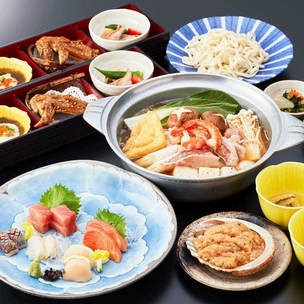 【OZ限定★食後のデザート付き】刺身5点盛や鶏ガラ豚骨スープの名物ちゃんこ鍋など全9皿の大関コース
